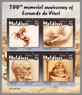 MALDIVES 2019 MNH Leonardo Da Vinci M/S - OFFICIAL ISSUE - DH1942 - Kunst