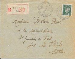 MAINE ET LOIRE 49 - ANGERS -  CACHET RECETTE R A5 - HOROPLAN - 1943 - ARRIVEE LAVAL R A3 - SUR LETTRE RECOMMANDEE - Bolli Manuali