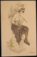 Illustration Illustrateur Illustrator Suzanne MEUNIER - Femme Avec Parapluie [Reproduction] Woman With Umbrella - Meunier, S.