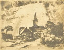 Aba-Novák Vilmos (1894-1941): Bodajki Templom 1922. Rézkarc, Papír, Jelzett, Foltos, Enyhén Gyűrött, üvegezett Keretben, - Other Collections