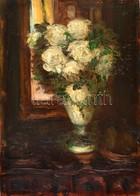 Aczél Henrik Emil (1876-1946): Virágcsendélet. Olaj, Karton, Jelzett, Restaurált, 44×31 Cm - Other Collections