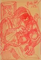 Szabó Zoltán, Angyalföldi (1929-2014): Család 1981. Filctoll, Papír, Jelzett, üvegezett Keretben, 26×17,5 Cm - Other Collections