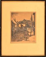 Beleznay István (1892-1954): Tabán. Rézkarc, Papír, Jelzett, üvegezett Keretben, 28×23 Cm - Other Collections
