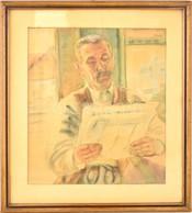 Bordy András (1905-1989): Újság Olvasó Férfi. Akvarell, Papír, Jelzett, üvegezett Keretben, 43×37 Cm - Other Collections