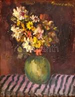 Bornemisza László (1910-1995): Virágcsendélet. Olaj, Vászon, Keretben, 43×33 Cm - Other Collections