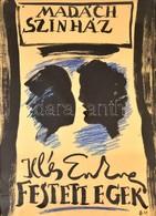Borsos Miklós (1906-1990): Illés Endre: Festett Egek, Színházi Plakátterv, Tus, Jelzett ('BM'), Papír, üvegezett Fa Kere - Other Collections