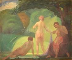 Borszéki Frigyes (1880-1950): Fürdőző Nők. Olaj, Vászon, Jelzett, Keretben, 80×96 Cm - Other Collections