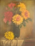 Ifj. Czene Béla (1911-1999): Virágcsendélet. Olaj, Vászon, Jelzett, üvegezett Hibás Keretben, 80×60 Cm - Other Collections