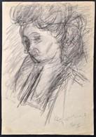 Czóbel Béla (1883-1976): Női Fej 1944. Szén, Papír, Jelzett, 34×24 Cm - Other Collections