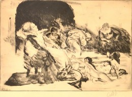 Csók István (1865-1961) - Prihoda István (1891-1956): Báthory Erzsébet. Rézkarc, Papír, Jelzett (Csók), 26×39 Cm - Other Collections