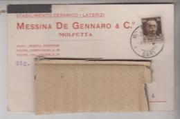 STORIA POSTALE  1931 MOLFETTA STABILIMENTO CERAMICO LATERIZI DE GENNARO - 1900-44 Vittorio Emanuele III