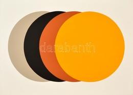 Dévényi János (1956-): Négykörös Kompozíció (2016.) Akril, Papír. Jelzett (hátoldalán). 50×70 Cm Keretben - Other Collections