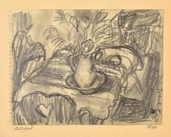 Frank Frigyes (1890-1976): Asztal 1940. Szén, Papír, Jelzett, Hátoldalán A Művész Dedikációjával, 15×19 Cm - Other Collections