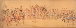 1874 Franz Gaul (1837-?)  2 Db Színpadkép Terv. Akvarell, Papír, Vásznon. Jelzett. 25x66 Cm (2x)  / Theatre Play Design. - Other Collections
