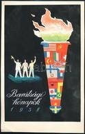Gönczi-Gebhardt Tibor (1902-1994):  Barátsági Hónapok 1958 Plakát, Reklám Terv, Tempera, Papír. 24x15,5 Cm - Other Collections