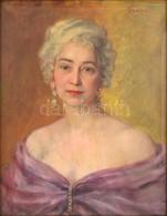 Györöki (Gyurkó) Pál (1904-1972): Női Portré. Olaj, Vászon, Jelzett, Hibás Antik Keretben, 68×52 Cm - Other Collections