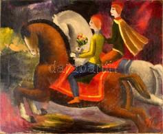 Klie Zoltán (1897-1992): Vágtató Szerelmesek. Olaj, Vászon, Jelzett, Restaurált, 50×60 Cm - Other Collections