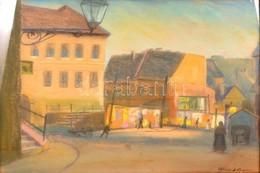 Klimó István (1883-1961): Utcarészlet. Pasztell, Papír, Apró Szakadással, Jelzett, üvegezett Keretben, 40×50 Cm - Other Collections