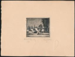 Kmetty János (1889 -1971): Téli Táj. Rézkarc (5/25), Papír, Jelzett, 5,5×7 Cm - Other Collections
