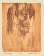 Kondé László (1954-2002): Tanulmányfej 1982. Hidegtű, Papír, Jelzett, 23×18 Cm - Other Collections