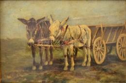 Németh György (1888-1962): Szamárfogat. Olaj, Falemez, Jelzett, üvegezett Keretben, 12,5×17,5 Cm - Other Collections