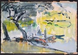 Novotny Emil Róbert (1898-1975): Hajnal Aradon 1963. Akvarell, Papír, Jelzett, 38×56 Cm - Other Collections