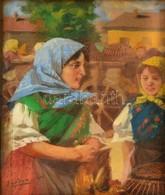 Pállya Celesztin (1864-1948): Mennyecskék A Várában. Olaj, Falemez, Jelzett, üvegezett Keretben, 15×13 Cm - Other Collections