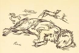 Rippl-Rónai József (1861-1927): A Kacsáról álmodó Kutya. Cinkográfia, Papír, Jelzett A Cinkográfián, Hátoldalán Hagyaték - Other Collections