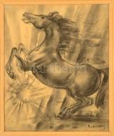 Ruzicskay György (1896-1993): Ágaskodó Ló. Szén, Papír, Jelzett, üvegezett Keretben, 25×20 Cm - Other Collections