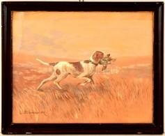 Scharl Artúr (1870-1918): Vadászkutya. Akvarell, Papír, Jelzett, üvegezett Keretben, Foltos, 24×29 Cm - Other Collections