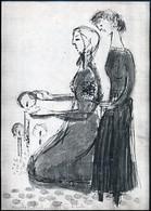 Szántó Piroska (1913-1998): Gyertyagyújtó Asszonyok. Monotípia, Papír, Jelzett, 29.5×21 Cm - Other Collections