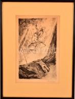 Szőnyi István (1894-1928): Illés Elragadtatása. Rézkarc, Papír, Jelzett, üvegezett Keretben, 27×17 Cm - Other Collections