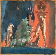 Ungváry Sándor (1883-1951): Démoni Nő (akt). Vegyes Technika, Papír-karton, Jelzett, 28×27 Cm - Other Collections