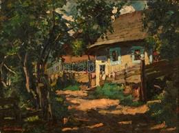 Zemplényi Tivadar (1864-1917): Házudvar. Olaj, Karton, Jelzett, Hibás Keretben, 28×37 Cm - Other Collections