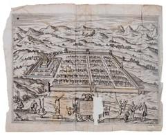 1596 Cusco Urbs Nobilissima & Opule[n]tissima Peruani Regni In Occide[n]tali Parte Sita, Peru, Cusco Rézmetszetű Látképe - Engravings