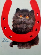 Cpa  Adorable PETIT CHAT NOIR CHANCE, FER A CHEVAL Signée LAWSON WOOD , CUTE LUCKY BLACK CAT  GOLDEN EYES A/s OLD PC - Katzen