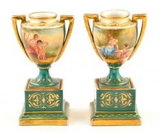 Royal Vienna Talpas Amfora Váza Párban, Jelzett (máz Alatti, Művész Szignóval Is), Kopott Lepattanás Nélkül, Kézzel Fest - Ceramics & Pottery