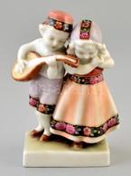 Goebel Gyerek Pár, Kézzel Festett, Jelzett, Apró Kopásnyomokkal, M: 12 Cm - Ceramics & Pottery