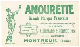 Buvard Amourette, Maisons Hémard & Pernod Fils Réunies, Montreuil ( Post Absinthe ) - Buvards, Protège-cahiers Illustrés