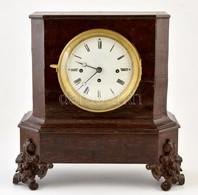 Negyedütős Ingajáratos Asztali óra Felújított Szerkezettel, Hibátlan Porcelán Számlappal, Spiáter Lábakkal. Kulcssal, Mű - Unclassified