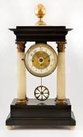XIX. Sz. Biedermeier Asztali óra, Negyedütős, Ingás Szerkezettel, Alabástrom Oszlopokkal. Müködő, Szép állapotban, Kulcc - Unclassified