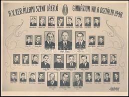 1948 Budapest, Kőbánya, A X. Ker. Állami Szent László Gimnázium Tanárai és Végzős Növendékei, Kistabló Nevesített Portré - Other Collections