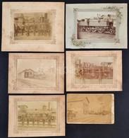 Cca 1900 6 Db Keményhátú Vasutat ábrázoló  Nagyobb Méretű Fotó. Állomások, Mozdonyok. / 6 Large Locomotive And Railways  - Other Collections