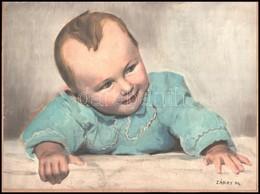 Cca 1950 Záray M. Jelzéssel Kézzel Színezett Gyermekfotó, Kasírozva, 29x39 Cm - Other Collections