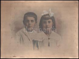 Cca 1900 Rudolph Műterméből Kettős Gyermekportré, Kézzel Színezve, Kasírozva, 30x40 Cm - Other Collections