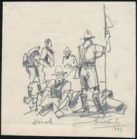 Márton Ferenc (1884-1940): 1933 Jamboree: Dánok. Ceruza, Papír, Jelzett, 16,5×16,5 Cm - Padvinderij