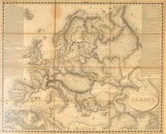 1818 Európa Térkép. Rézmetszet. General Karte Von Europa 1818. 68x58 Cm Üvegezett Keretben.  / Engraved Map Of Europe In - Mappe