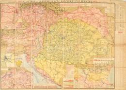1905 Ausztria és Magyarország Közlekedési Térképe, 1:1500000, Freytag G. és Berndt, Bécs, Vászonra Kasírozva, 100×71 Cm  - Mappe