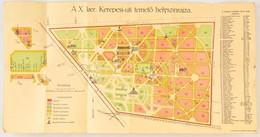 A X. Ker. Kerepesi úti Temető Helyszínrajza, Klösz György és Fia Térképészeti Műintézet, Budapest, 31×60 Cm - Mappe
