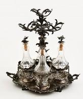 Cca 1850 Ezüst (Ag.) Augsburgi Olaj-ecet Tartó, Eredeti Köszörült üveg Palackokkal, Aprólékos ötvös Munka, Jelzett, Mest - Unclassified